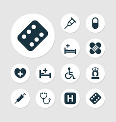 medicine icons set collection of polyclinic vector image