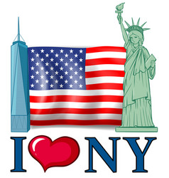 I love new york banner with american flag and vector