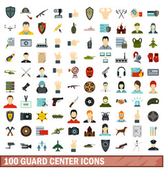 100 guard center icons set flat style vector