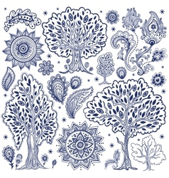 Set of unique ethnic trees and flowers vector image