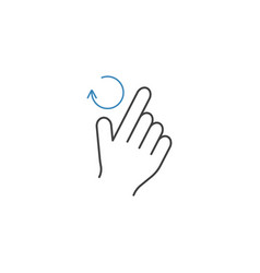 2 finger rotate right line icon hand gestures vector