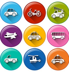 Round buttons with the different transportations vector