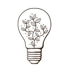 Light bulb with leaves within vector