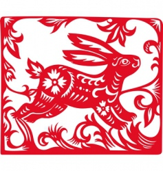 Chinese zodiac of rabbit year vector