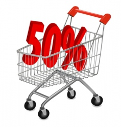 Shopping cart with 50pr vector