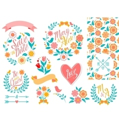 Big wedding graphic set arrows hearts laurel vector