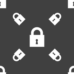 Closed lock icon sign seamless pattern on a gray vector
