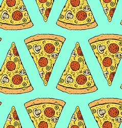 Sketch pizza slice in vintage style vector