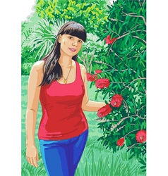 Girl on the nature vector