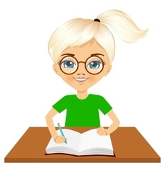 Cute little caucasian student girl writing vector