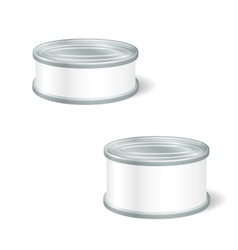 Realistic blank tins for canned food preserve vector