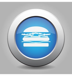 Blue metal button with hamburger vector