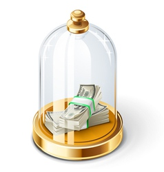 Dollars under the glass dome vector