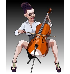 Cartoon sexy woman performs on the contrabass vector