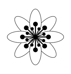 Black and white flower icon vector