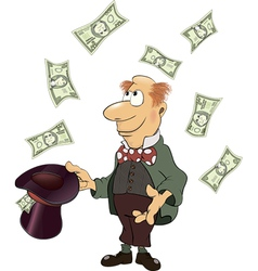 A business man gnome with money cartoon vector image vector image