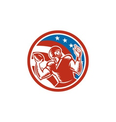 American football qb throwing usa flag retro vector
