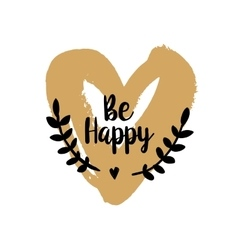 Be Happy Valentine on golden heart vector image