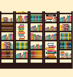 Books in library flat design vector