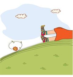 Bored girl legs lying on the grass vector