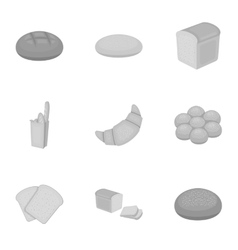 Bread set icons in monochrome style Big vector image