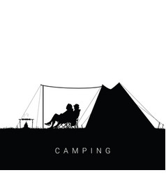 Camping in nature with people silhouette vector