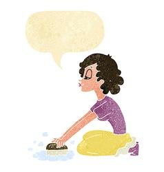 cartoon woman scrubbing floor with speech bubble vector image vector image