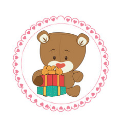 Color circular frame with teddy bear and gift box vector