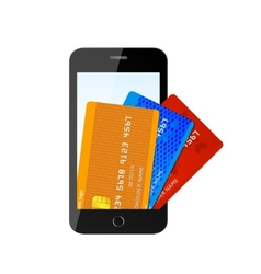 Credit card with phone vector