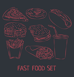 fast food doodle icon set vector image