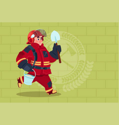 Fireman running with shovel and bucket uniform and vector