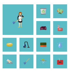 flat icons wisp housekeeping sponge and other vector image