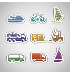 flat retro color stickers - set eight vector image