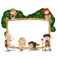 frame template with kids in safari outfit vector image vector image