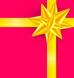 Gold Ribbon on Pink Background - Gift Box Cover - vector image