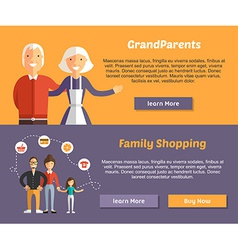 Grandparents and family shopping flat design vector