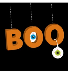 Hanging 3d word boo text with blue green eyeballs vector