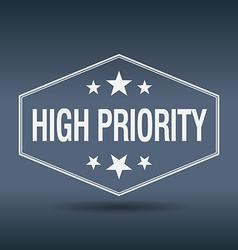 High priority hexagonal white vintage retro style vector