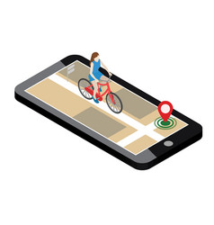 isometric location mobile geo tracking female vector image