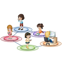 Kids and communication devices vector