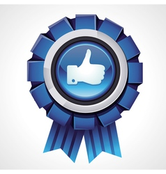 Like sign on glossy award icon vector