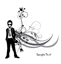 Man silhouette wiyh floral vector