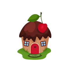 Miniature fantasy house in form of sweet cupcake vector