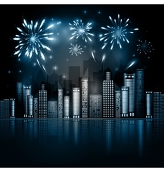 Night city skyline with fireworks vector