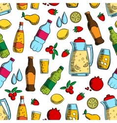 Non-alcoholic drinks with fruits seamless pattern vector