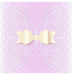 Ornate lacy wedding invitation card cover vector