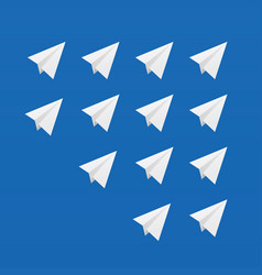 Paper airplane white set vector