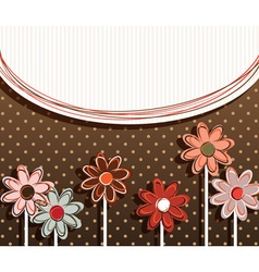Paper Flowers on Polka Dot Background vector image