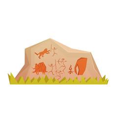 Prehistoric rock engravings colorful vector