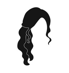 Red wavyback hairstyle single icon in black style vector